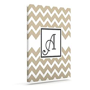Kess InHouse KESS 原创交织字母 V 形花纹棕褐色 A 户外帆布墙壁艺术,20.32 x 25.40 厘米