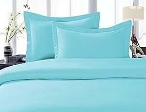 Elegant Comfort 1500 Thread Count Egyptian Quality Super Soft Wrinkle Free 3-Piece Duvet Cover Set, Full/Queen, Aqua