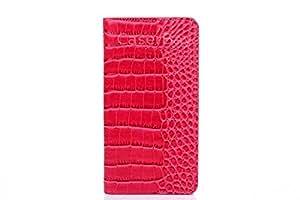 """[CaserBay] 兼容 iPhone 7 手机套 4.7 英寸优质 PU 皮革翻盖支架钱包手机壳坚固的鳄鱼浮雕,豹纹图案卡/卡槽 Magenta For iPhone 7 4.7"""""""