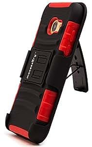 maxessory [ trailblazer ] dual-layer 重型混合 + 内置式皮带扣皮套 W/刚性加固支架防护 ARMOR COVER 父适用于 SAMSUNG GALAXY A32017保护套 Red Gray