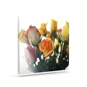 "Kess InHouse Beth Engel ""Sweet Reminder""花朵黄色户外帆布墙壁艺术 8"" x 10"" 黄色 BE1034AAC01"