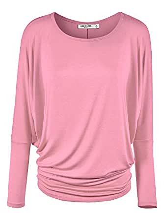LL Womens Long Sleeve Batwing Dolman Top - - Made in USA WT826_PINK Small