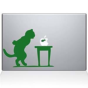 贴花 Guru 1035-MAC-13X-LG 猫和鱼缸乙烯基贴纸,13 英寸 Macbook Pro(2016 及更新),绿色