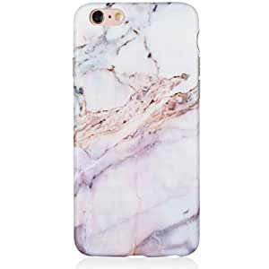 DICHEER iPhone 6 手机壳,iPhone 6s 手机壳可爱女女孩修身薄透明防撞光泽 TPU 软橡胶硅胶保护套适用于 iPhone 6/iPhone 6siphone 6 6s case 4.7'' 19 粉色大理石