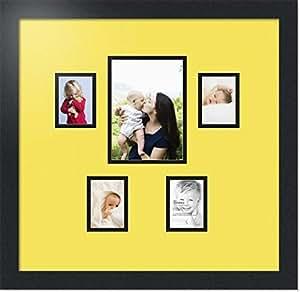 ArtToFrames 字母照片相框,带 1-5x7 和 4-2.5x3.5 开口。 黑色缎面镜框 Canary 1-5x7 and 4-2.5x3.5 Double-Multimat-128-47R/89-FRBW26079