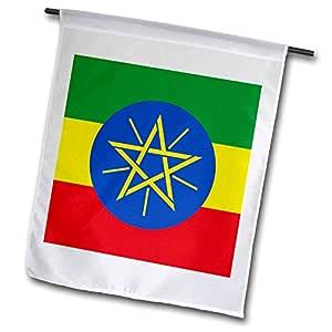 fl_158314 InspirationzStore 旗帜 - 埃塞俄比亚国旗 - 非洲世界 - 东非 - 埃塞俄比亚绿色黄色 红色 - 蓝色圆圈带星星 - 旗帜 12 x 18 inch Garden Flag fl_158314_1