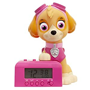 BulbBotz 狗狗巡逻队天空儿童夜灯闹钟带特色的声音,棕色/粉色,5.5 英寸