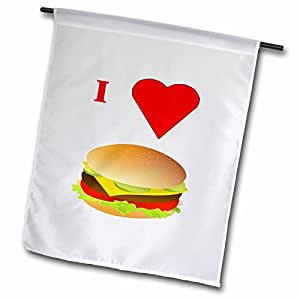 florene FOOD N beverage – I LOVE cheeseburgers – 旗帜 12 x 18 inch Garden Flag