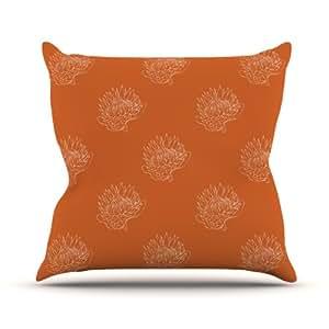 Kess InHouse Anneline Sophia Simply Protea 橙色室内/室外抱枕 26 in. 橙色 AS1007AOP05
