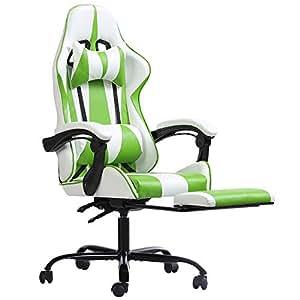 Henglin 恒林 电竞椅游戏椅网吧懒人家用电脑椅人体学久坐不累网咖吃鸡 HLC-2617(绿+白色)(亚马逊自营商品, 由供应商配送)