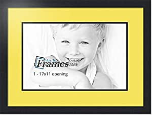 ArtToFrames 拼贴照片框双垫,带 1 个开口和黑色缎框。 Canary 1-11x17 Double-Multimat-727-47R/89-FRBW26079