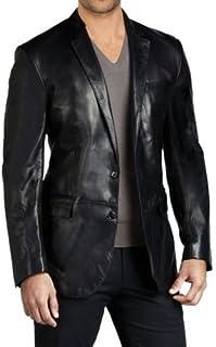 ROXA Leathers 男士真羊皮真皮西装两粒扣黑色外套