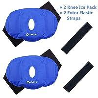 """膝盖冰袋凝胶可重复使用用于热和冷*,膝盖冰压缩包裹缓解*、肿块压缩 2 knee ice packs - 9.8"""" x 6.5"""" 2.00"""