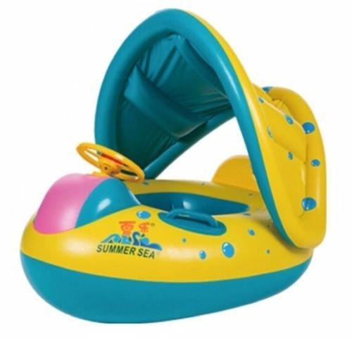 妈妈和宝宝泳池浮动,婴儿游泳圈,宝宝充气泳池浮动带可拆卸遮蓬 1