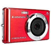 AGFA 照片 - 小型数码相机,带 2100 万像素 CMOS 传感器,8 倍数码变焦和 LCD 显示屏 红色