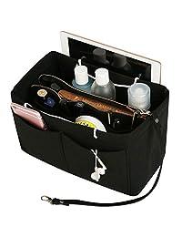 毛毡钱包收纳袋带拉链,插入袋,手提包收纳袋,适用于 Speedy Neverfull Longchamp,3 个尺寸