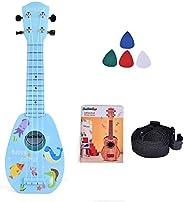 趣味小玩具 17 英寸儿童尤克里里琴,带带子儿童乐器,拨片和教程,男孩女孩学习教育玩具(蓝色)
