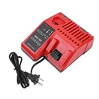 Zerone 12V-18V 锂电池充电器适用于 Milwaukee M12-18C M18 替换 110-240V Zeronegzk7s2upv3-01