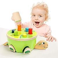 TOP BRIGHT Montessori 幼儿学习精细运动技巧 - 学前木制玩具锤击和打玩具 - 2 岁老女孩男孩礼物婴儿和幼儿玩具
