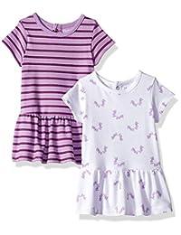 Hanes Ultimate 女婴柔韧短袖针织连衣裙 2 件套