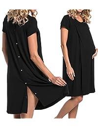 Saftebay 女式哺乳睡衣*睡衣短袖孕妇睡衣带纽扣 S-XXL 码  黑色 X-Large