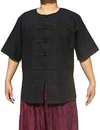 RaanPahMuang 厚棉中国短袖深橙色开领衬衫加大码