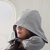 U型枕 带帽护颈枕 旅行飞机枕 颈椎枕 午休连帽枕头 (深灰色)
