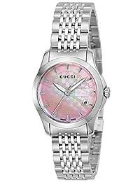 [GUCCI古馳] 腕表 G Timeless 粉色珍珠表盤 YA126532 銀色