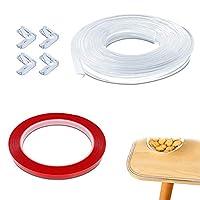 桌角保护膜,AFUNTA 20 英尺软家具保险杠带,带双面胶带和 4 件*透明护角,桌子、橱柜等锋利桌角保护膜