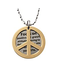 R.H. Jewelry Peace Symbol and Inspiration,Great Advice 引语双圆形标签项链