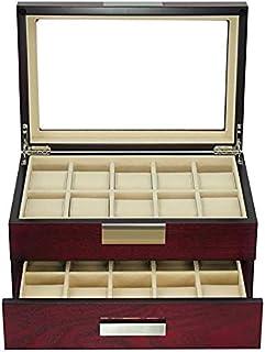 TimelyBuys 20 樱桃木手表盒陈列柜,2 级存储珠宝收纳盒带玻璃顶盖、不锈钢装饰和抽屉