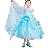 Dressy Daisy 女孩艾尔莎公主服装冰雪奇缘裙带火车万圣节派对服装