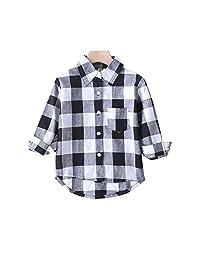 幼儿男婴女孩衣服绅士服装红色格子法兰绒正装衬衫带系扣儿童服装 1-6T 灰色-d 5-6T
