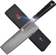 TUO 刀具 Kiritsuke Chef's 刀 - 日本 AUS10 HC 大马士革钢 - 带人体工程学的 G10 刀柄的厨房刀 Unique Rose Damascus Bright Surface,Sma