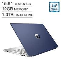 2018 *新款 HP Pavilion 商务旗舰笔记本电脑电脑 15.6 英寸高清触摸屏显示屏 * 8 代 Intel i5-8250U 四核处理器 12GB DDR4 RAM 1TB HDD 背光键盘 蓝牙 B&O 音频 Windows 10 蓝色