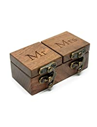 IdeaWoodCompany 戒指轴承盒 - 枕头替代品 - 戒指夹盒 - 木制婚礼 mrs mr 戒指盒 - 婚礼典礼双戒指盒