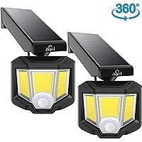 JUSLIT 室外可调式太阳能灯,72 COB LED运动感应灯,360°旋转头广角照明,2种模式的无线安全壁灯,IP65防水