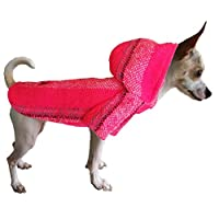 Yani's Gifts Baja 斗篷狗狗服装,温暖狗丝,舒适正品狗狗用巴哈连帽衫,舒适的 Jerga 斗篷,适合狗狗穿戴,桃红色狗狗的药地毯连帽衫 粉红色 S