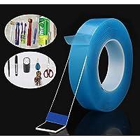 多功能纳米抓握胶带,双面粘性可重复使用可拆卸可洗无痕,5M/16.5英尺 1包 蓝色