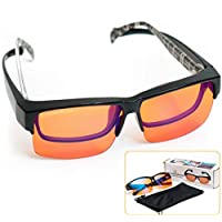 Fitover 防蓝色阻隔电脑眼镜 — 适合*眼镜 — 琥珀橙色阻挡蓝光 — 更好的夜间*和减少* Migraine * Insomnia Flex Frame Large