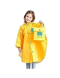 儿童雨衣,儿童雨衣,轻质防水雨衣外套,适合女孩男孩,便携式连帽雨衣