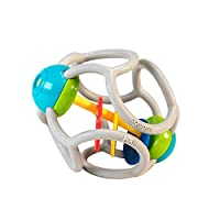 OgoBolli – 柔软摇铃球 – 感官牙胶玩具 适合6个月及以上的宝宝 – 由*有弹性的硅胶制成 – *、PVC、BPA 和邻苯二甲酸酯,灰色