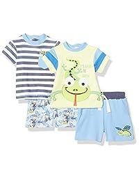 Quiltex 男孩幼童 Mr Frog 2 T 恤和 2 件短裤套装 4 件套