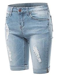 A2Y 女士中腰做旧翻边下摆牛仔百慕大短裤