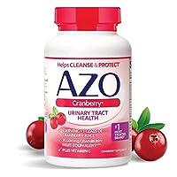 AZO 蔓越莓尿道膳食补充剂| 1份份量= 1杯蔓越莓汁| 100粒软胶囊