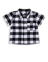 幼儿男童女童服装绅士服装红色格子法兰绒正式衬衫带纽扣儿童服装 1-6T Grey-short 3-4T