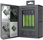GP Batteries Charge Anyway X411,便携式移动移动电源和圆形电池充电器镍氢微型(AAA),Mignon(AA),包括4X AA 电池