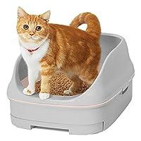 花王 Nyantomo清洁厕所套装 开放式 [猫用厕所主体] ライトグレー&ナチュラル -