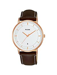Pulsar 男式模拟经典石英手表皮革表带 PG8258X1