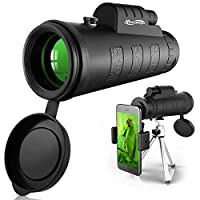 Newseego 单筒望远镜,50X60 大功率高清单筒望远镜,防水单筒望远镜,耐用透明,带手机夹和三脚架,适用于观鸟、露营、徒步旅行 黑色